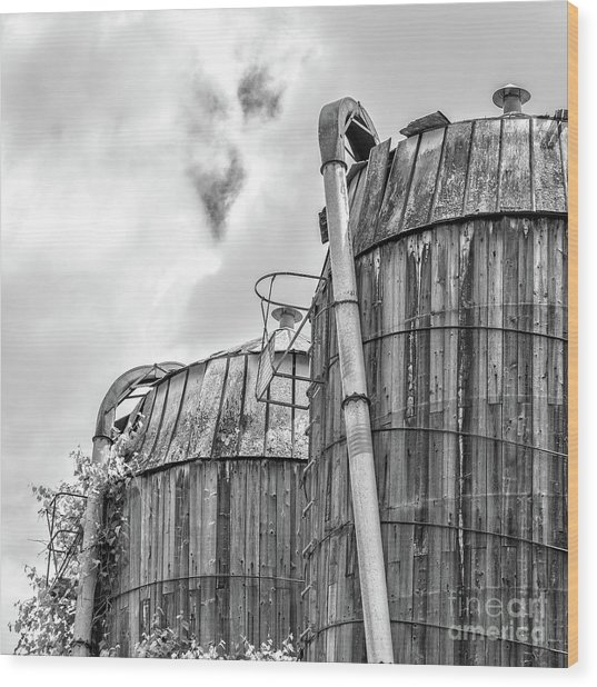 Wood Print featuring the photograph Old Texas Wooden Farm Silos by Edward Fielding