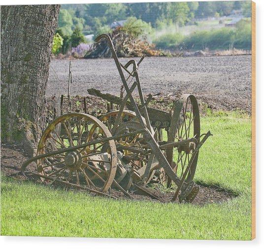 Old Time Plow Wood Print by Liz Santie