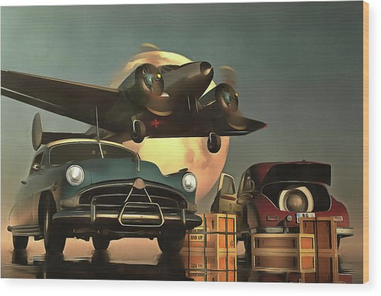 Old-timers With Airplane Wood Print