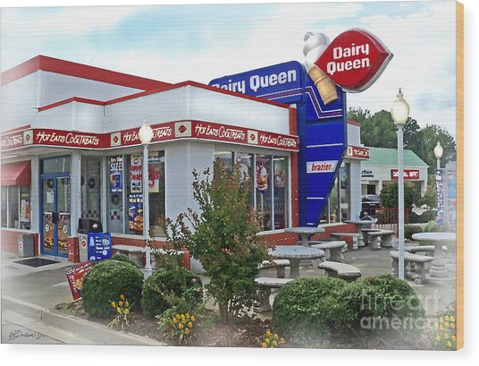 Old Timey Dairy Queen Wood Print