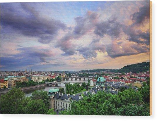 Old Town And Charles Bridge, Prague, Czech Republic Wood Print