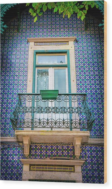 Old Town Balcony In Blue Lisbon Portugal  Wood Print