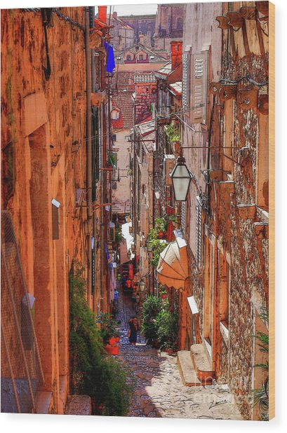 Old Town Dubrovniks Inner Passages Wood Print