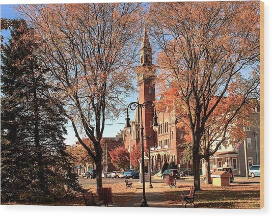 Old Town Hall In The Fall Wood Print