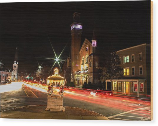 Old Town Hall Light Trails Wood Print