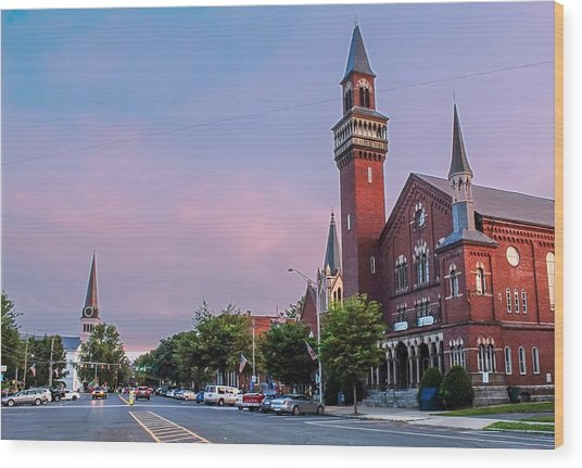 Old Town Hall Sunset Sky Wood Print