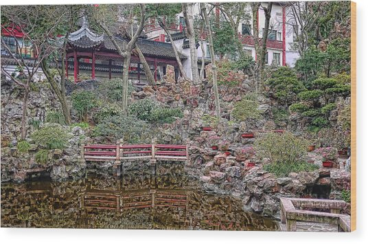 Old Town Rock Garden Shanghai Wood Print by Barb Hauxwell