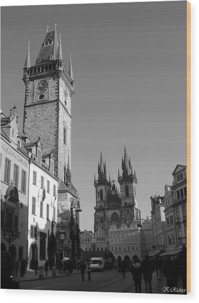 Old Town Square Wood Print by Keiko Richter