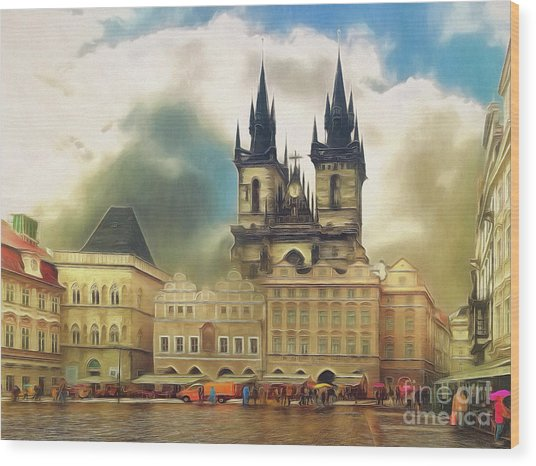 Old Town Square Prague In The Rain Wood Print