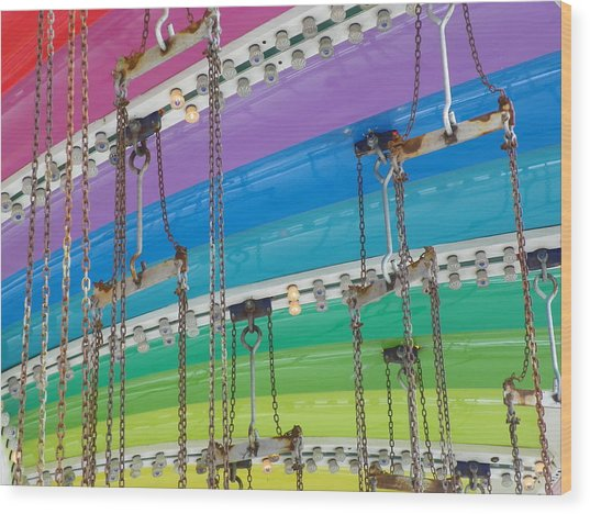Old Town Swing Wood Print by Caren Grant
