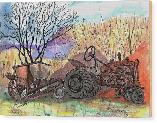 Old Tractor Danvers Ma Wood Print