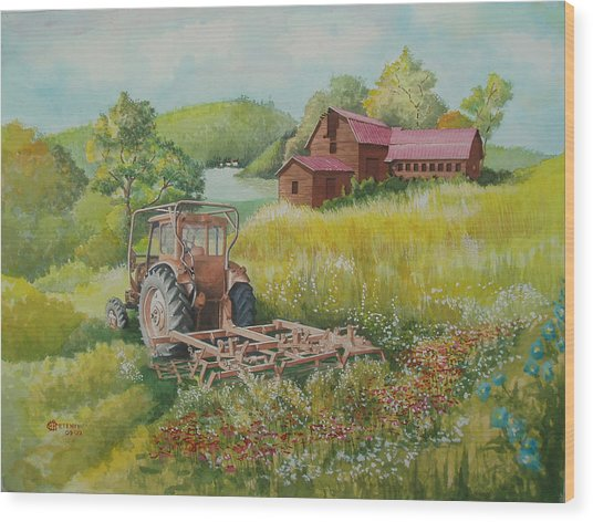Old Tractor In Hungary Galgaguta Wood Print by Charles Hetenyi