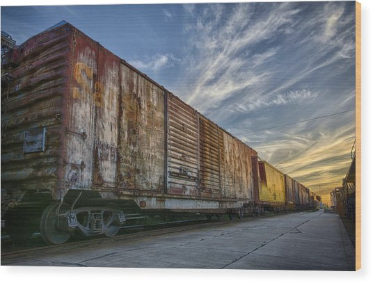 Old Train - Galveston, Tx Wood Print