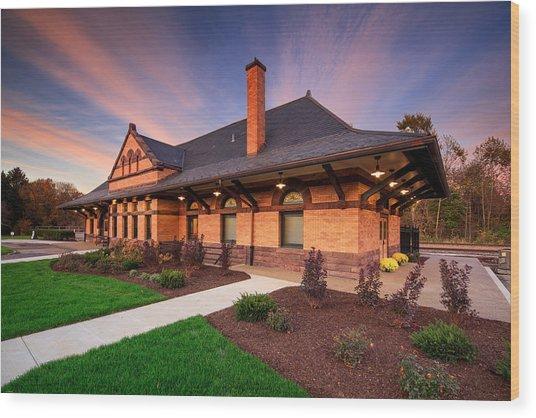 Old Train Station Wood Print