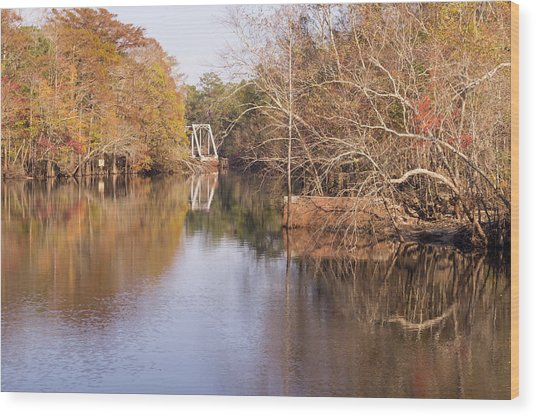 Old Trestle On The Waccamaw River Wood Print