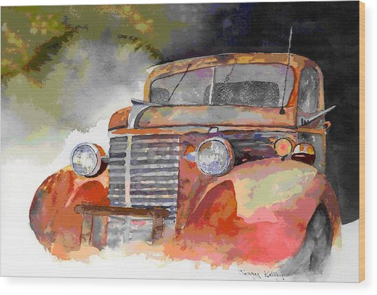 Old Truck Wood Print by Jerry Kelley