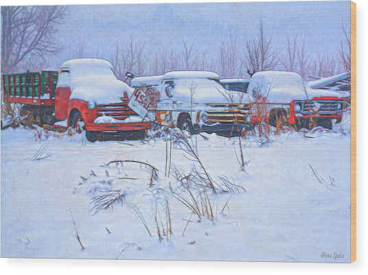 Old Trucks In Snow Wood Print