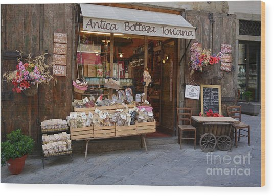 Old Tuscan Deli Wood Print
