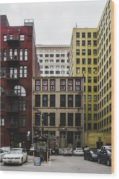 Old Urgent Care Building In Downtown Saint Louis Wood Print by Dylan Murphy