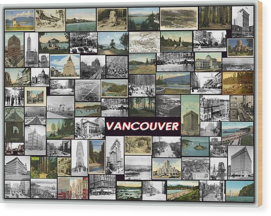 Old Vancouver Collage Wood Print by Janos Kovac
