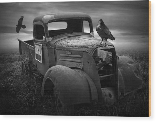 Old Vintage Chevy Pickup Truck With Ravens Wood Print