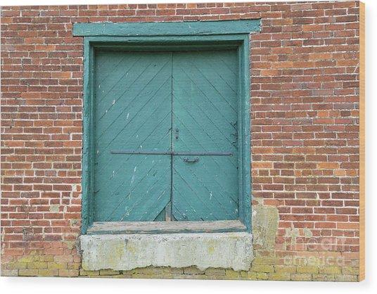 Old Warehouse Loading Door And Brick Wall Wood Print