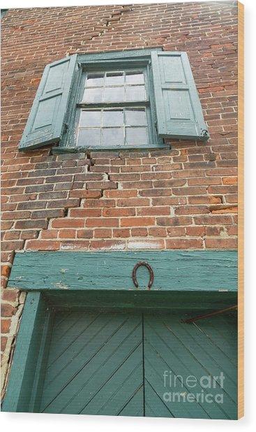 Old Warehouse Window And Lucky Door Wood Print