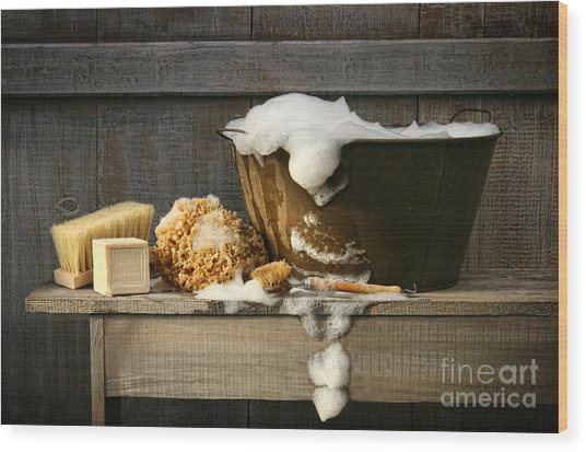 Old Wash Tub With Soap On Bench Wood Print