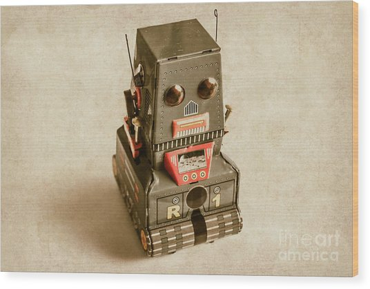 Old Weathered Ai Bot Wood Print