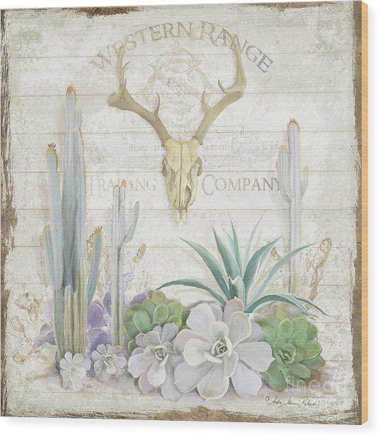 Old West Cactus Garden W Deer Skull N Succulents Over Wood Wood Print