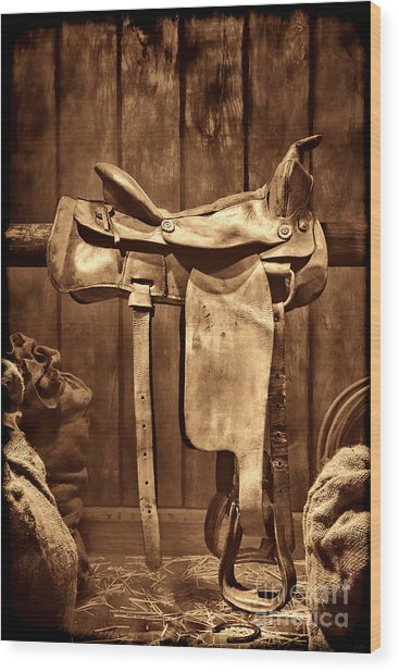 Old Western Saddle Wood Print
