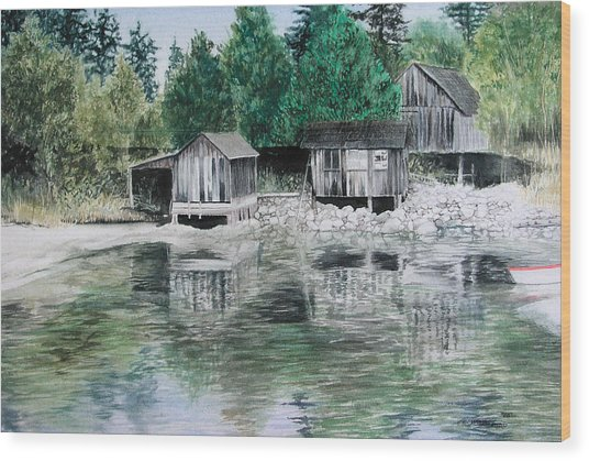 Old Westsound Wood Print by Cory Calantropio