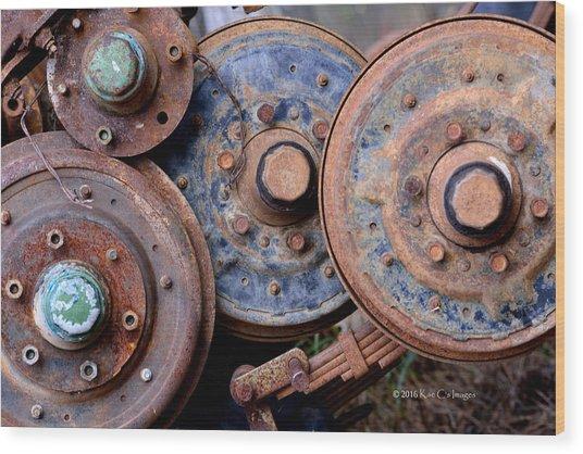 Old Wheels, Circles And Bolts Wood Print