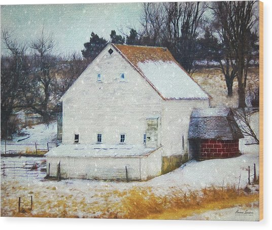 Old White Barn In Snow Wood Print