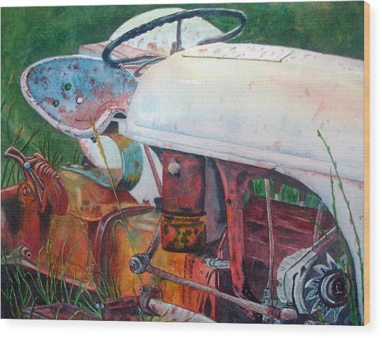 Old White Tractor Out To Pasture Wood Print by Rosie Phillips