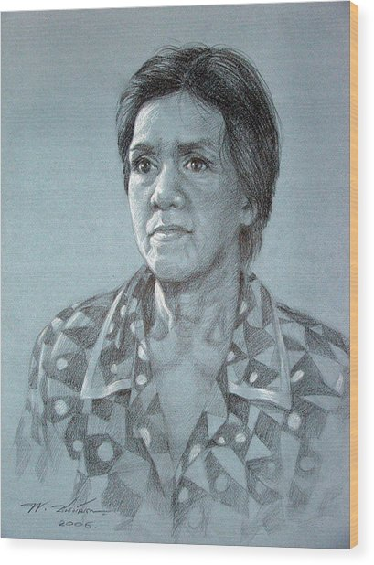 Old Woman Wood Print by Chonkhet Phanwichien
