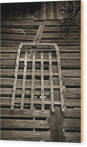 Old Wood Barn Detail Wood Print by Frank Tschakert