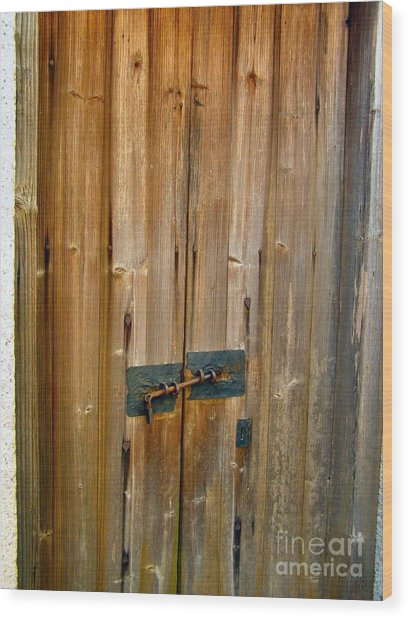 Old Wooden Door Chinese Village Hong Kong Two Wood Print by Kathy Daxon