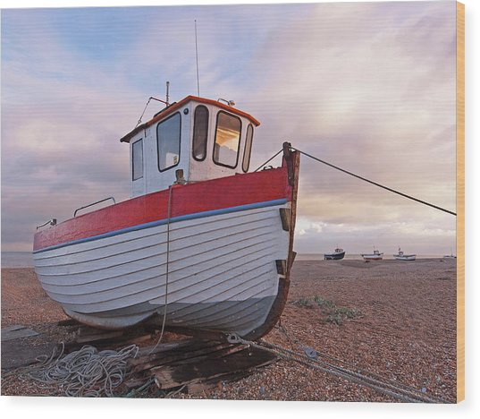 Old Wooden Fishing Boat Home By Sunset Wood Print