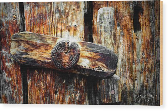 Old Wooden Latch Wood Print
