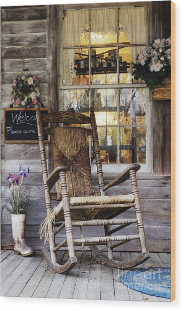 Old Wooden Rocking Chair On A Wooden Porch Wood Print by Jeremy Woodhouse
