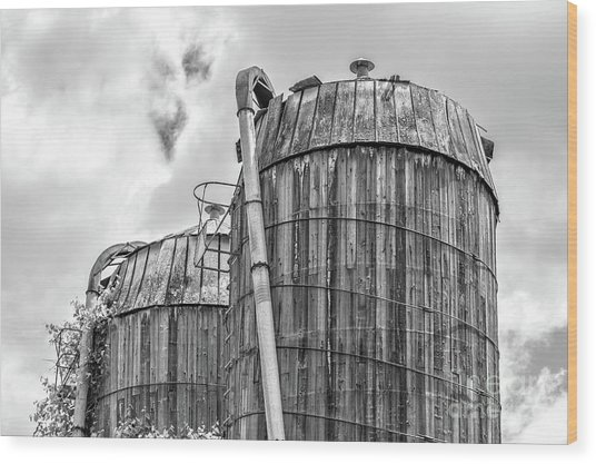 Old Wooden Silos Ely Vermont Wood Print
