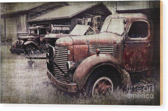 Old Work Trucks Wood Print