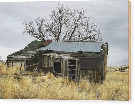 Old Wyoming Farmhouse Wood Print