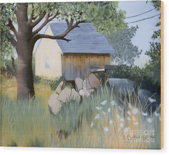 Old Yellow Shed Wood Print by Emily Michaud