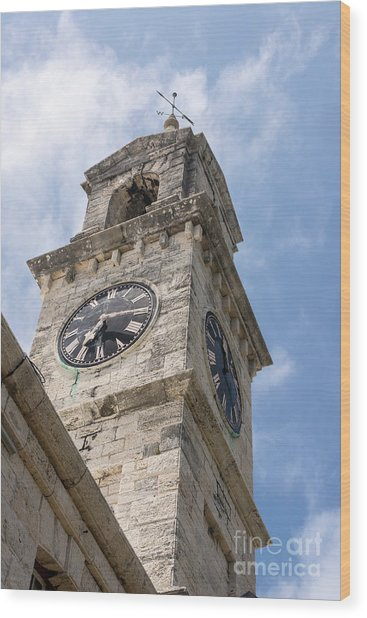 Olde Time Clock Wood Print