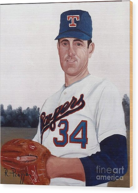 Older Nolan Ryan With The Texas Rangers Wood Print
