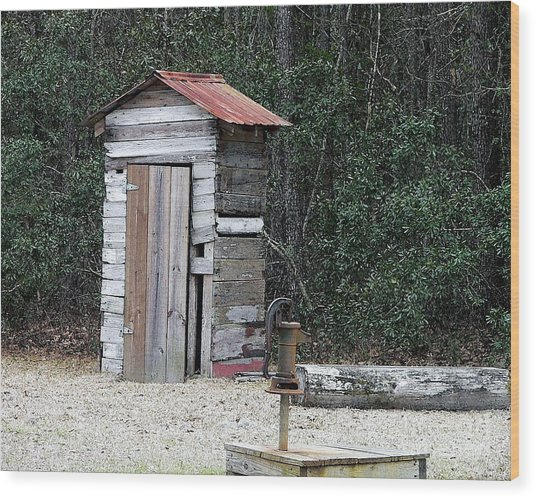 Oldtime Outhouse - Digital Art Wood Print