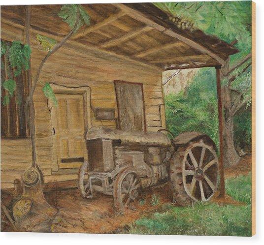 Oldtime Tractor Wood Print