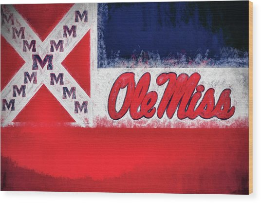 Ole Miss Mississippi State Flag Wood Print by JC Findley